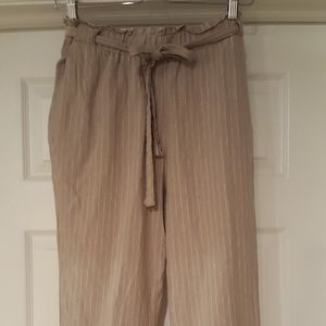 Lovestitch Medium linen blend beige striped pants